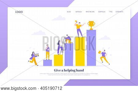 Career Climbing And Supporting With Giving A Helping Hand Business Concept Flat Style Design Vector