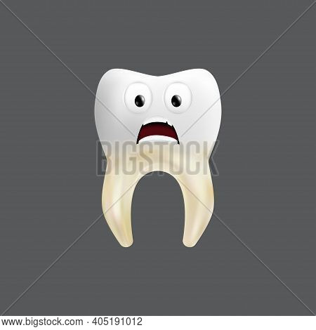 Scared Tooth With A Tissue Grafting. Cute Character With Facial Expression. Funny Icon For Children'