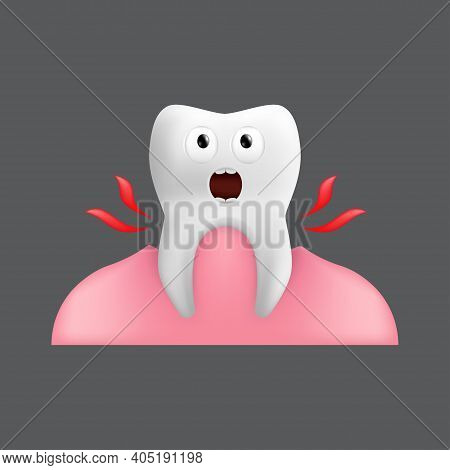 Pulling A Screaming Tooth Out Of The Gum. Cute Character With Facial Expression. Funny Icon For Chil