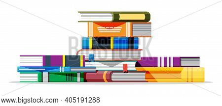 Pile Of Books Isolated On White Background. Book Cover In Various Colors. Reading Education, E-book,