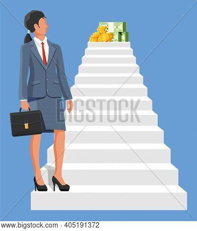 Businesswoman Climbs Up Ladder To Money. Goal Setting. Smart Goal. Business Target. Achievement And
