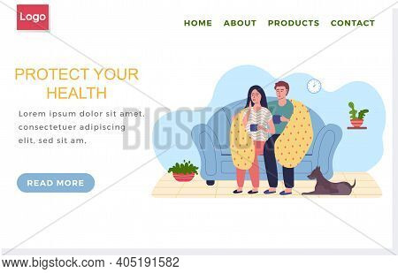 Internet Website Layout. Sick Couple Sitting On Sofa During Quarantine. Protect Human Health Concept