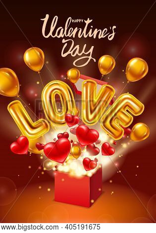 Happy Valentines Day Gift Box Open, Love Gold Helium Metallic Glossy Balloons Realistic, Present Wit