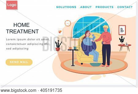 Landing Page Template With Sick People. Home Treatment Concept. Man Giving Pills To Woman. Girl Suff