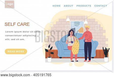 Internet Website Layout. Self Care Concept. Man Giving Pills To Sick Woman. Girl Takes Antiviral. Fe