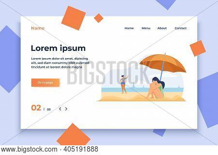Depressed Woman On Sea Beach. Sad Girl Sitting On Sand Under Umbrella Flat Vector Illustration. Majo