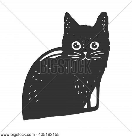 Black Cat In Cat House Sketch Engraving Vector Illustration. T-shirt Apparel Print Design. Scratch B