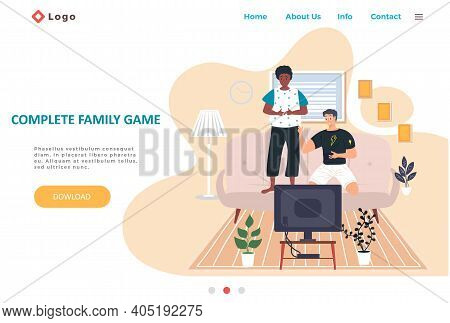 Complete Family Game Landing Page Template With Happy Family Or Friends Playing Video Games. Two Bro