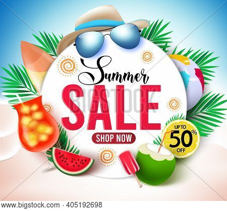 Summer Sale Vector Banner Template. Summer Sale Text With 50% Off And Elements Like Beach Sand, Juic