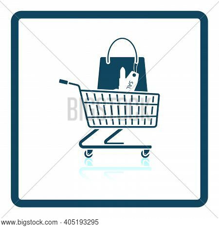 Shopping Cart With Bag Of Cosmetics Icon. Square Shadow Reflection Design. Vector Illustration.