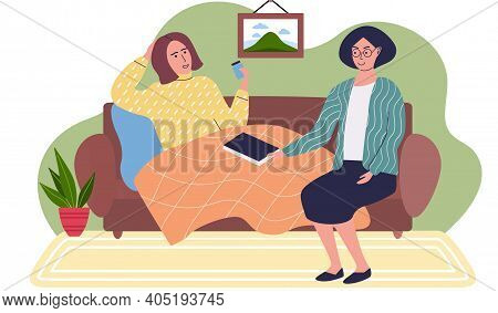 Woman Helping Patient To Treat. Self Care And Treatment Concept. Girl Wrapped In Blanket Takes Pills