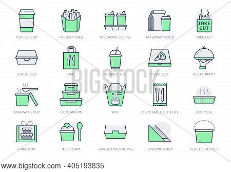 Take Away Food Service Line Icons. Vector Illustration With Icon - Box, Pizza, Takeout Package, Sand