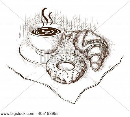 Coffee, Croissant And Donut Drawing, Vector Illustration Isolated On White. Sketch Of Hot Cup Of Cof