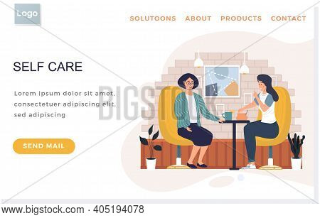 Landing Page Template With Women Sitting In Cafe. Female Friends Are Communicating And Taking Tea. G