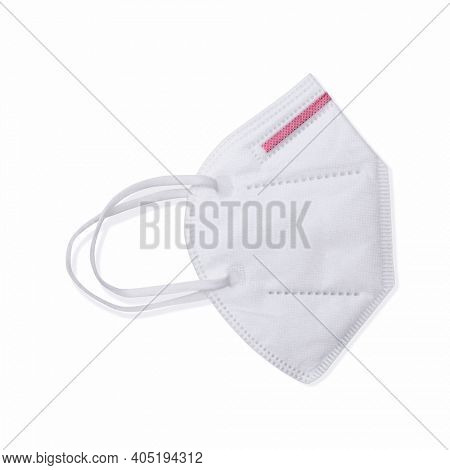 FFP2 disposable white mask. Medical equipment isolated on white background.