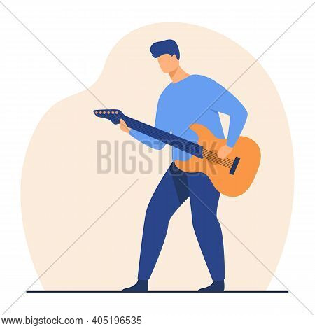 Man Playing Guitar. Musician, Rock Star, Musical Instrument. Flat Vector Illustration. Concert, Show