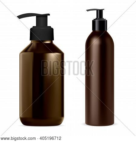 Pump Dispenser Bottle. Soap, Shampoo Bottles Mockup Vector Blank. Brown Package With Dispenser Cap F