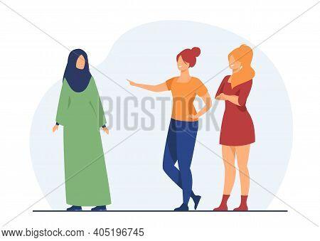 Girls Bullying Muslim Classmate. Shaming, Teasing, Minority. Flat Vector Illustration. Social Proble