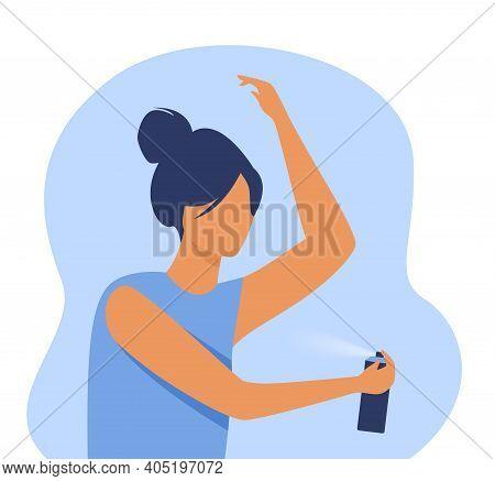 Woman Spraying Deodorant On Armpit. Fragrance, Odor, Cosmetic Protection. Flat Vector Illustration.