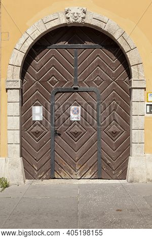 Budapest, Hungary - July 19, 2012: Typical Huge Colorfully Painted Decorated Wooden Doors Of The Gar
