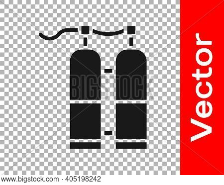 Black Aqualung Icon Isolated On Transparent Background. Oxygen Tank For Diver. Diving Equipment. Ext