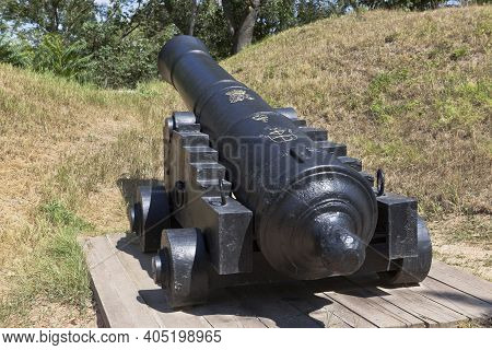 Sevastopol, Crimea, Russia - July 27, 2020: English 24-pounder Cannon With The Mark Of George Iii, T