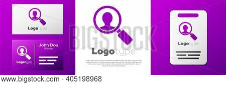 Logotype Magnifying Glass For Search A People Icon Isolated On White Background. Recruitment Or Sele