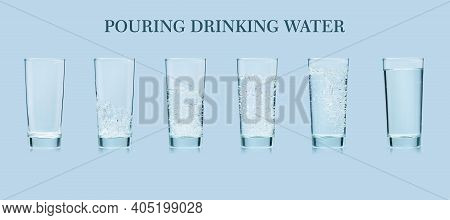 Pouring Water. Pouring Fresh Clean Drinking Water To Glass. Banner