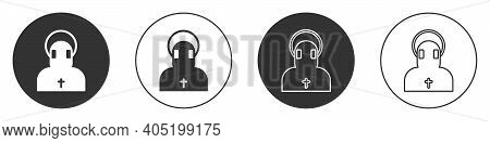 Black Monk Icon Isolated On White Background. Circle Button. Vector