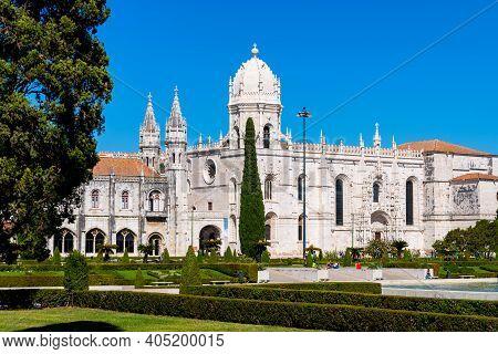 Lisbon, Portugal, October 08, 2018: Jeronimos Monastery Or Mosteiro Dos Jeronimos, Lisbon Portugal