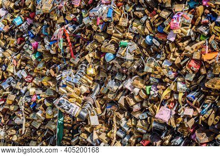 Many Love Locks On A Bridge Across The Seine River As Symbols Of Eternal Love, In Paris, July 21, 20