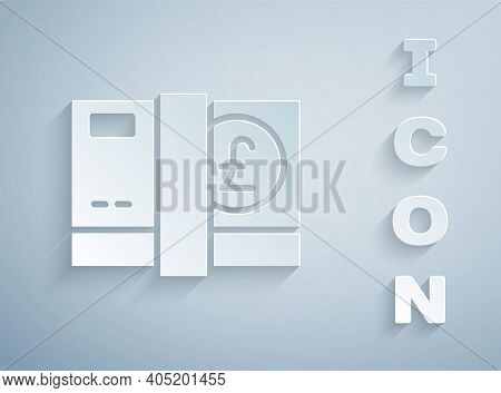 Paper Cut Pound Sterling Money Icon Isolated On Grey Background. Pound Gbp Currency Symbol. Paper Ar