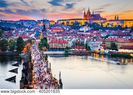 Prague, Czech Republic. Charles Bridge And Hrad (prague Castle) With Vitus Cathedral, Bohemia Landma