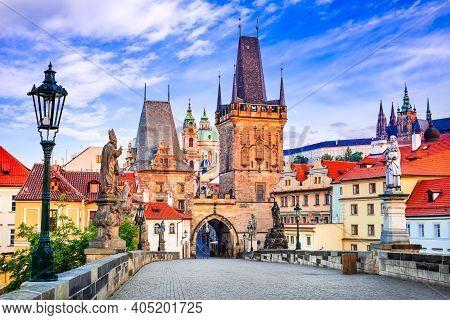 Prague, Czech Republic. Mala Strana Medieval Downtown Of Praha, Bohemia Medieval Kingdom And Imperia
