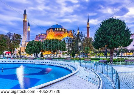 Hagia Sophia Domes And Minarets In The Old Town Of Istanbul, Turkey, On Twilight