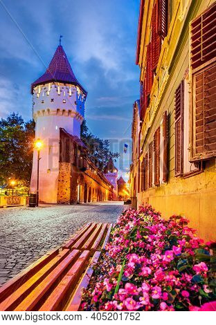 Sibiu, Romania. Medieval Old Town And The Carpenters Tower In Transylvania Historical Eastern Europe