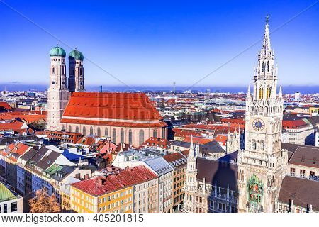 Munich, Germany. Aerial View Of The Ancient Medieval Gothic Architecture City Hall Building At The M