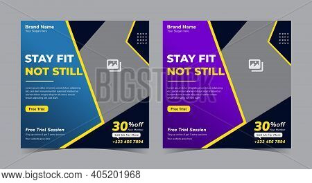 Gym Social Media Post. Gym Flyer Design. Gym Social Media Post And Flyer. Fitness Flyer
