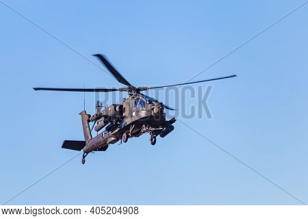 Ede, Netherlands, September 21, 2019: Apachehelicopter Command Of The Dutch Army Dropping Soldiers D