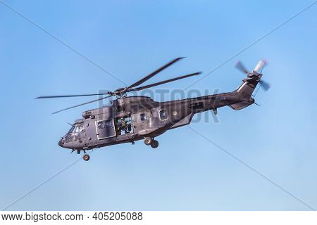 Ede, Netherlands, September 21, 2019: Cougar Helicopter Command S-454 Of The Dutch Army During An Ai