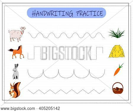 Handwriting Practice Sheet. Educational Children Game. Tracing Lines For Kids And Toddlers