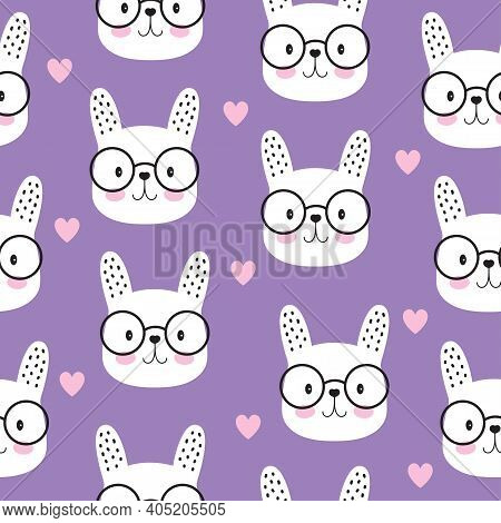 Childish Seamless Pattern With Cute Bunny Faces On Purple, Creative Vector Childish Background For F