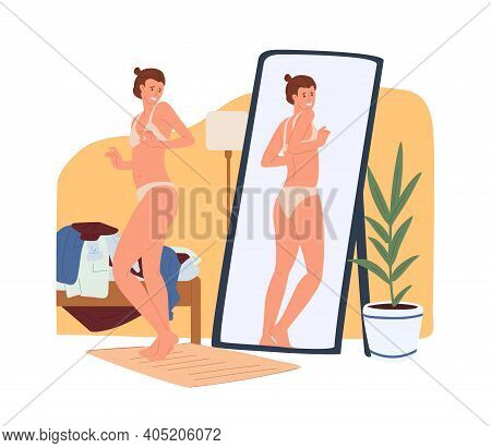Young Woman In Underwear Looking At Extra Pounds Or Kilos Of Her Body In Reflection Of The Mirror. B