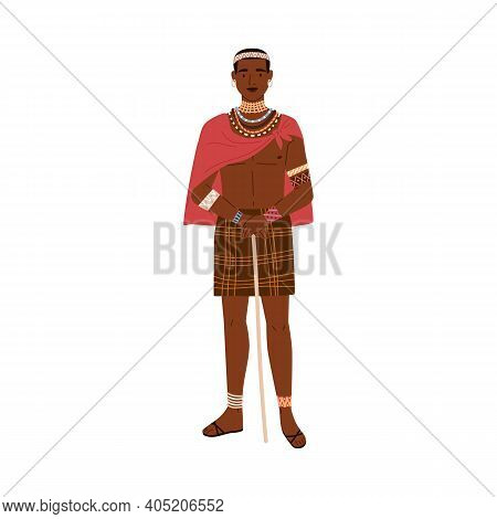 African Tribal Man Holding Stick In Hands. Young Male Member Of Aboriginal Tribe Standing In Traditi