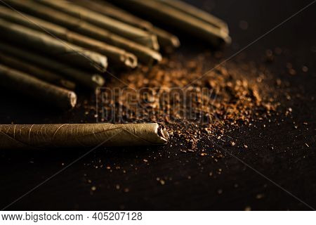 Addictive Substance, Narcotic, Habit-forming Substance Concept. Tobacco With Dry Leave Handmade Ciga