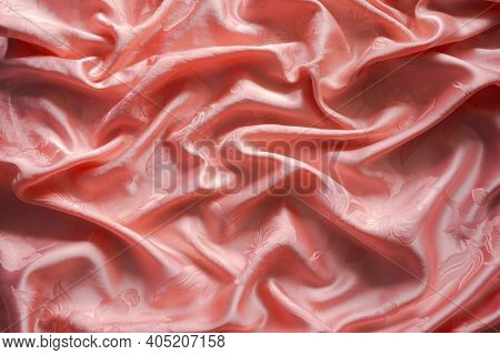Luxuriors Satin Fabric Or Silk Abstract Background. Of Texture And Pattern Of Colorful Orange Mess S