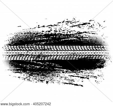 Tire Track Of Offroad Car Or Bike Wheel Vector Design. Grunge Mark Or Trail With Tyre Tread Pattern