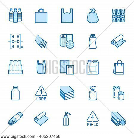 Low Density Polyethylene Flat Line Icons. Ldpe Products - Food Package Film, Thermoresistant Paper,