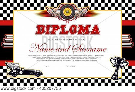 Race Winner Diploma Vector Template. Racing Award Border With Black And White Chequered Flag, Winged