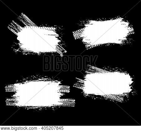 Car Tires Traces, Vehicle Wheels Trails Vector Backgrounds. Automobile, Motorcycle Or Truck Protecto